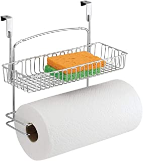mDesign Over Cabinet Paper Towel Holder with Multi-Purpose Basket Shelf - Hanging Storage Organizer for Kitchen, Pantry, Laundry, Garage - Holds Dish Soap, Cleaners, Sponges - Metal Wire - Chrome