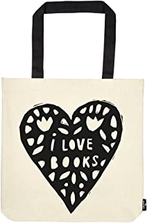 moses. libri_x Shopper I Love Books, Tragetasche 100% Baumwolle, Sporttasche, 42 cm, Natur
