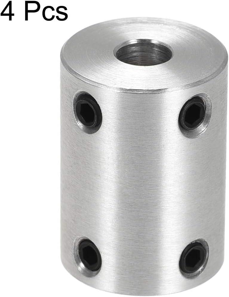 sourcing map 5mm to 5mm Bore Rigid Coupling Set Screw L25XD18 Aluminum Alloy,Shaft Coupler Connector,Motor Accessories,4pcs