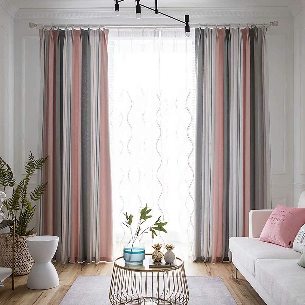 MacoHome Pink Sea Finally resale start Max 54% OFF Breeze Linen Patio Decorative Stripe Curtain C