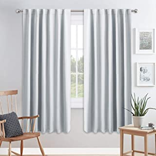 PONY DANCE White Curtain Panels - Room Darkening Light Filtering Window Draperies Back Tab/Rod Pocket Blackout Curtains Home Decor, 52 Wide by 72 Long, Greyish White, 2 Pieces