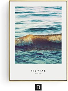 Zutty Sea Wave Wall Art Canvas Posters and Prints Feather Marble Painting Decorative Modern Abstract Picture for Living Room,30x40cm No Frame,B