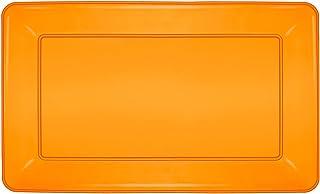 Party Essentials Heavy Duty Hard Plastic 12 x 18-Inch Rectangular Serving Tray, Neon Orange, 3-Count