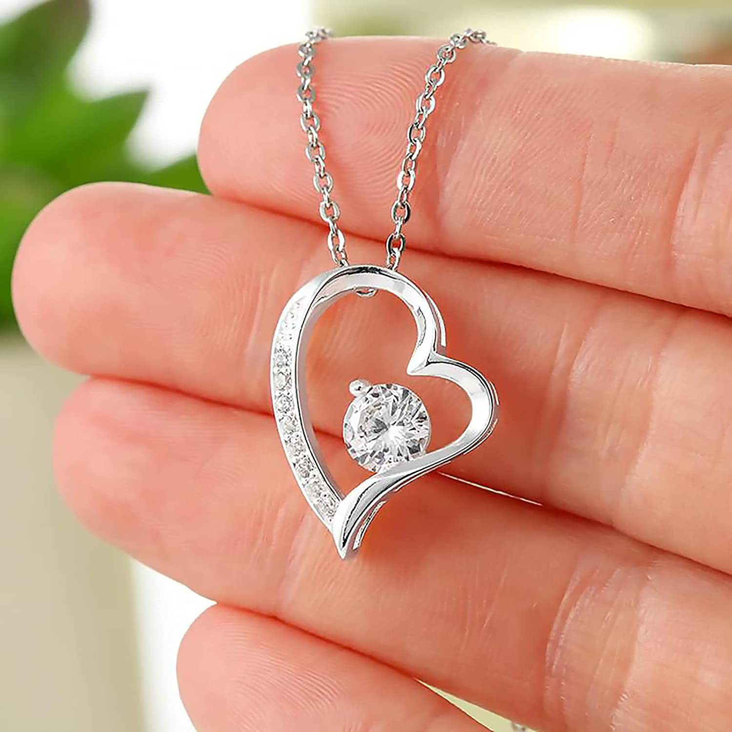 Allmark Gifts Love You Forever Heart Necklace to My Daughter Necklace from Dad and Mom - Daughter Gifts Pendant Necklace with Adjustable Chain - Daughter Necklace with 6.5mm Cubic Zirconia Crystals