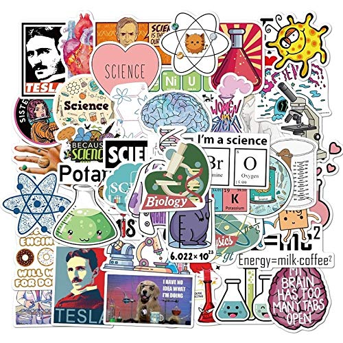 YZFCL Science Lab Stickers Cartoon Physical Chemistry Sticker For Student Diy Laptop Stationery Luggage Guitar Funny Pvc 50Pcs