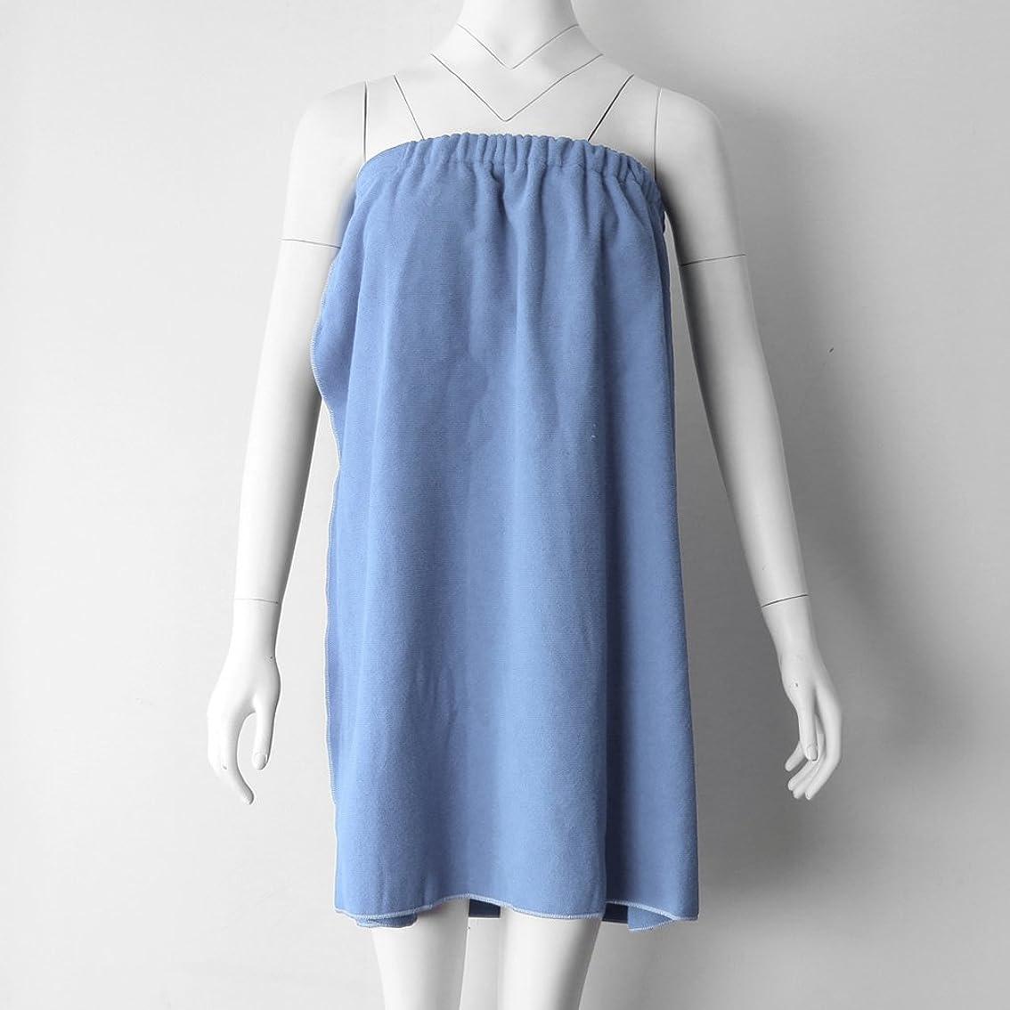 チョップ突っ込む在庫Perfk タオルラップ バスタオル バススカート レディース シャワーラップ 約68×54cm 4色選べる - ライトブルー