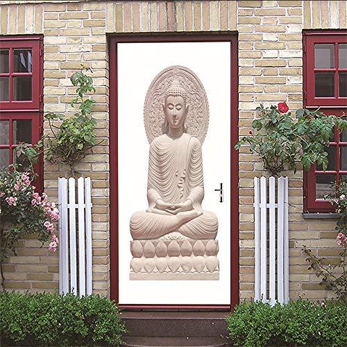 XKLBO Deursticker Muurschilderingen Fotobehang Decal, Boeddha standbeeld, 38.5 * 200Cm * 2 Stks 3D Woonkamer Slaapkamer Kantoor Huis Huisdecoratie Kwekerij Restaurant Café Hd Creatieve Poster