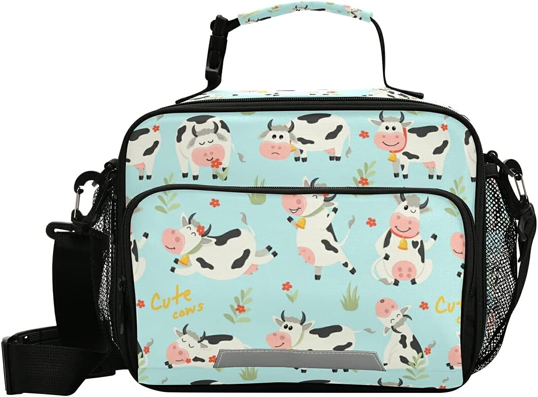 Super sale period limited Cute Cows Floral Reusable Lunch Insulat Cattle Cartoon Bags Very popular! Milk