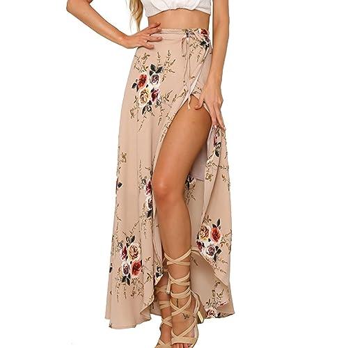 a81bbda34541b Yonala Womens Boho Floral Tie Up Waist Summer Beach Wrap Cover Up Maxi Skirt
