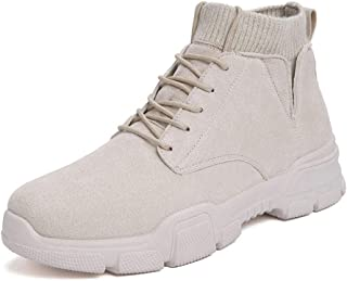 SHENYUAN Men's Combat Boots High Top Boot Lace up Faux Suede Soft Knit Sock Shoes Fleece Inside Lug Sole Warmth Outdoor Flats Casual (Color : Beige, Size : 39 EU)