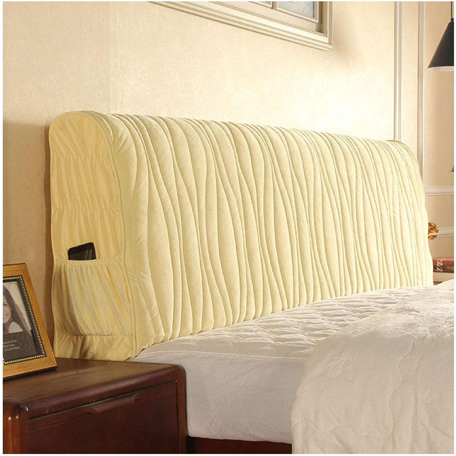 Mlhk Tête De Lit en Tissu Prougeecteur De Couverture De Chevet Anti-poussière Couverture épaissir Style Européen Housse De Lit De Sac Souple Lavable 4 Couleurs 4 Tailles,Beige-120  58cm