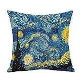 Yinzhm Fundas de Cojines Van Gogh Terciopelo Suave Cuadrado Decorativa Almohadas Funda de Almohada para Cojín para Sofá Camas Dormitorio Coche Sillas Throw Pillow Case V11374 Pillowcase+Core,50X50cm