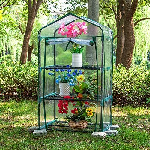 LLA Foliengewächshäuser Garten Kleines Gewächshaus mit Roll-Up-Fenstern, für Patio-Rasen-Pflanzen, Wasserdichtes 3-Tier-Outdoor-Rack (Color : Transparent)