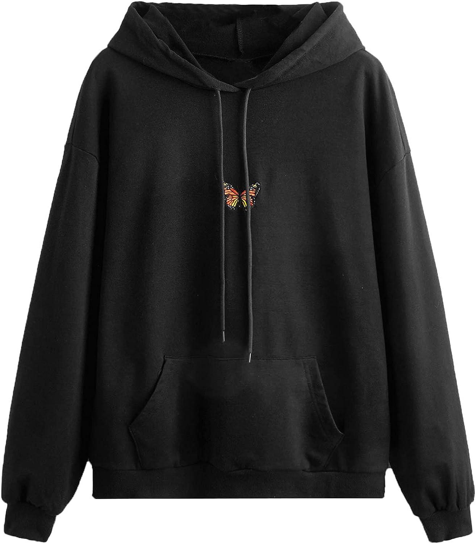 MakeMeChic Women Casual Butterfly Print Kangaroo Pocket Drawstring Hoodie Sweatshirt