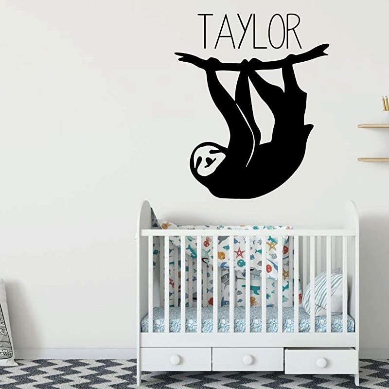 BYRON HOYLE Sloth Wall Decal Personalized Animal Jungle Theme Vinyl Sticker Decoration For Children S Bedroom Playroom Or Baby Nursery
