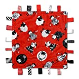 Sleepy Sheep Label Lovey - Black, White and Red - Baby Sensory, Security & Teething Textured Ribbon Tag Blanket