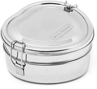 SPICE PEOPLE Stainless Steel Heart Shape Tiffin Box - Bento Box Containers - Zero Waste Lunch Box - Bento Boxes - Heart Shape Bento Box (16x16x9 centimeter, Heart Shape Double Decker)