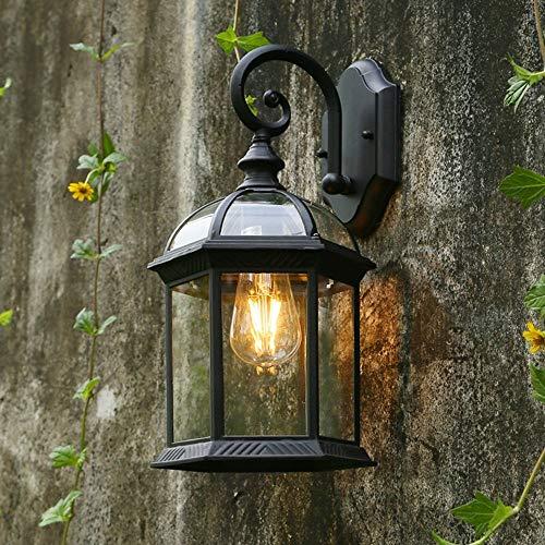 Lámpara de pared para exteriores Continental Lámpara de pared de vidrio para exteriores Moderno Simple Luces de jardín a prueba de agua Creatividad vintage LED Balcón Pasillo Linterna Aplique de pare