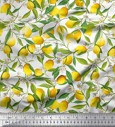 Soimoi Blanco gasa de viscosa Tela hojas, flores y limón vegetal tela estampada de por metro 42 Pulgadas de ancho