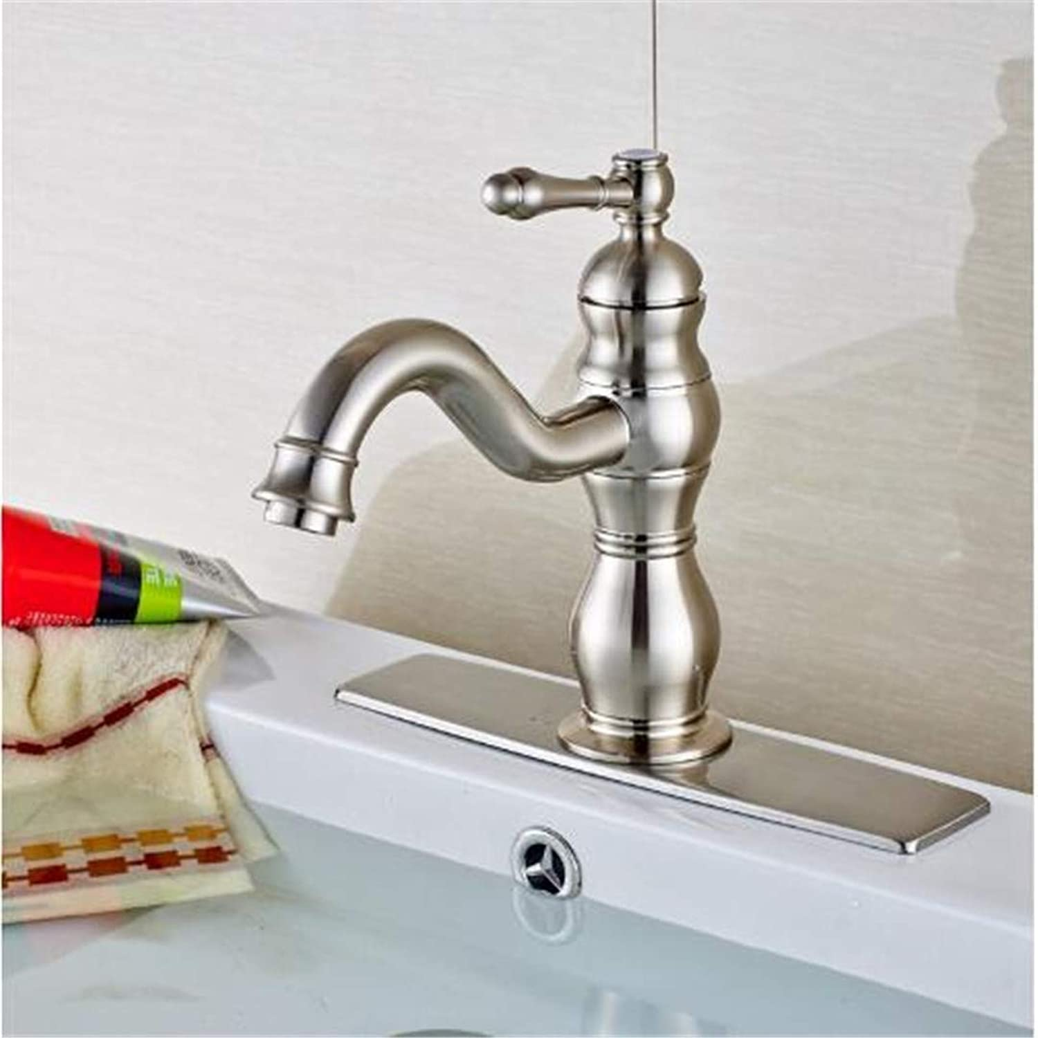 Oudan Bathroom Basin Faucet Kitchen Faucet Hot and Cold Taps Crossdeck Mounted Brushed Nickel Waterfall Sink Faucet Mixer Tap with Square Plate (color   -, Size   -)