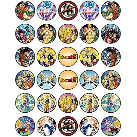 Dragonball Z 30 Edible Wafer Paper Cupcake Toppers Birthday Cake Decorations