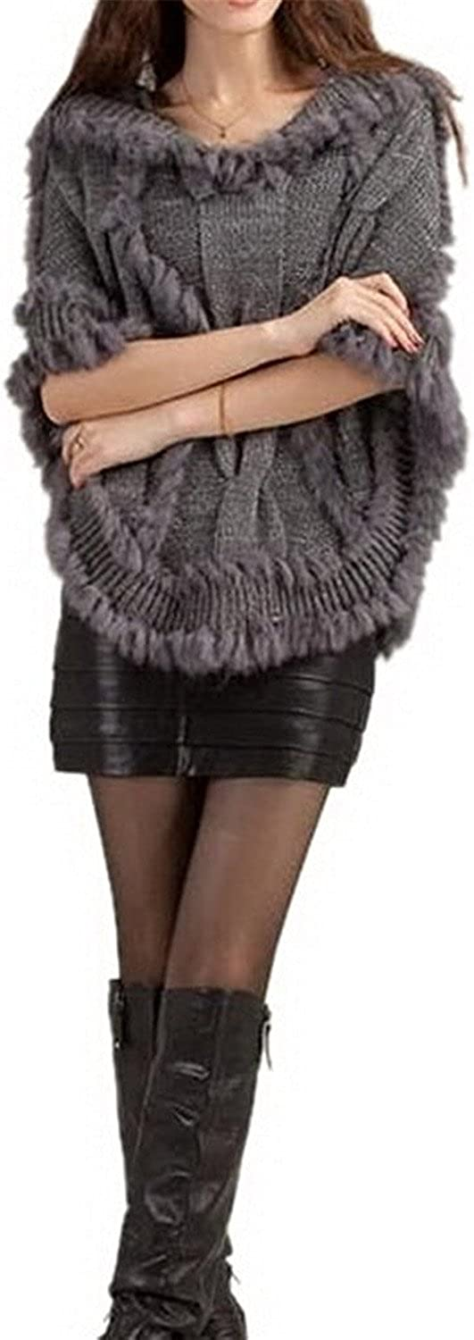 Manuertin Women Cape Sweater Bat Plus Size Hoodie Sweater Shawl Fur Coat