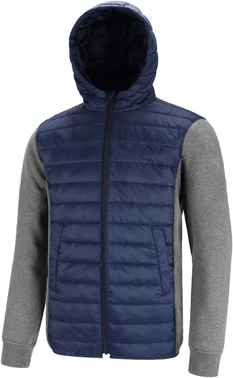 DISHANG Men's Ultra Lightweight Winter Puffer Jacket with Hood Mixed Media Coat