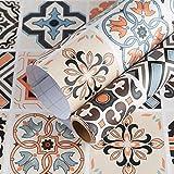 TOTIO - Papel de contacto para pared de estilo mexicano, diseño de azulejos de 40CM x 3M para escaleras de vinilo adhesivo para muebles de cocina y baño, resistente al agua