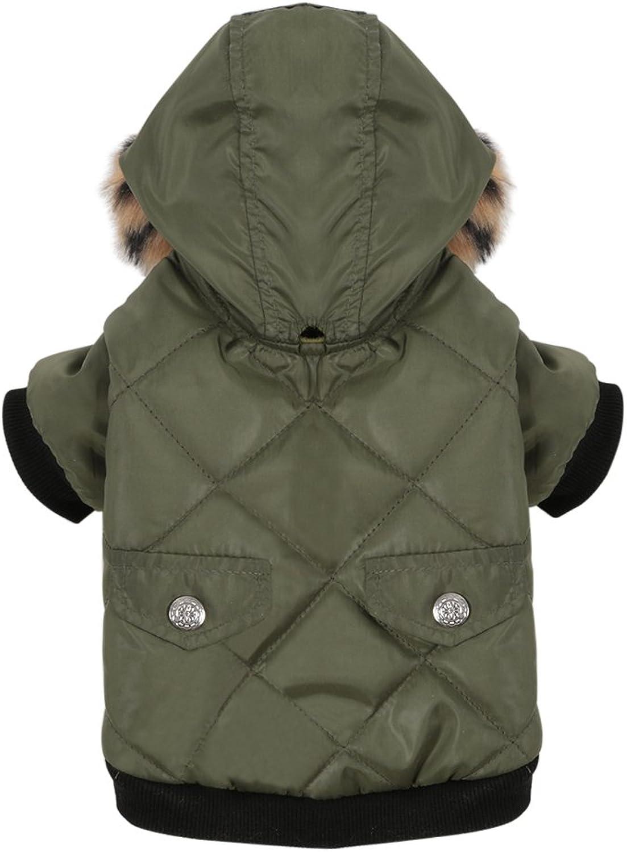 PanDaDa Small Pet Faux Pockets Coat Fur Trimmed Dog Puppy Hoodie Jacket Costume (XXS(Tag S), Green)