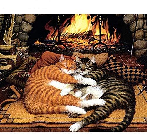 Houten puzzel 1000 stukjes stukjes for Volwassen kinderen educatief Stress Reliever -Open haard kitten-Modern Home Decor Art Uniek Cadeau 50X75CM