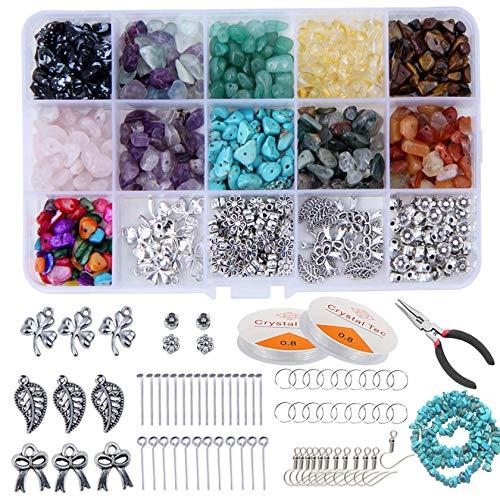 Tenwind DIY Edelsteine mit Loch,15 Gitter Schotter Box Verpackt Unregelmäßigen DIY Schmuck Zubehör-Set für Ohrringe Halskette Armbänder Selber Machen Mädchen Frauen