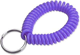 """Lucky Line 2"""" Diameter Spiral Wrist Coil with Steel Key Ring, Flexible Wrist Band Key Chain Bracelet, Stretches to 12"""", Purple 1 PK (410651)"""