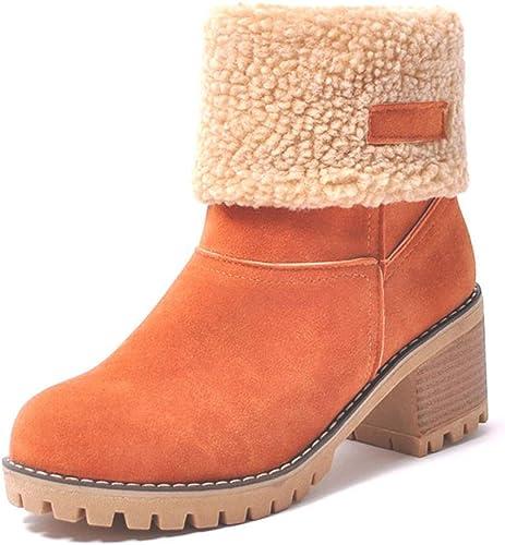 ZHRUI Bottes de Neige Neige Femmes Bottes épaisses Bottes imperméables à la Cheville pour Femmes Bottes d'hiver (Couleuré   Orange, Taille   4=37 EU)  voici la dernière