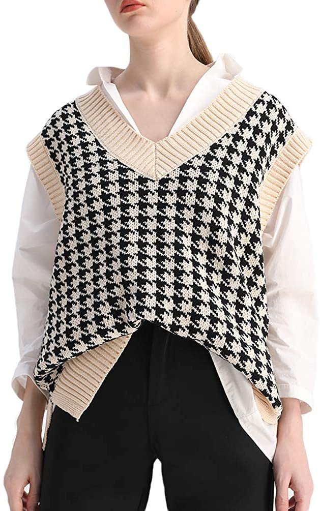 Sdencin Women 70% New mail order OFF Outlet Houndstooth Pattern Knit Sweater L Vest Sleeveless