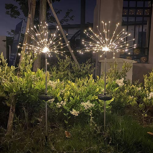 HanOBC 2 Pack Outdoor Solar Garden Lights 120 LED Solar Powered Decorative Stake Landscape Light Outdoor Firework Solar Garden Decorative Lights for Garden Patio Yard Pathway Lawn Party Decor
