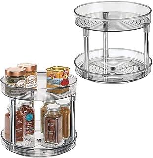 comprar comparacion mDesign Juego de 2 especieros giratorios con dos pisos – Práctico estante para especias para los armarios de la cocina o l...