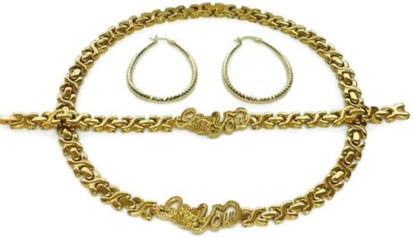 Womens 14K Gold Tone Hugs & Kisses I LOVE YOU Necklace Bracelet Set Stainless Steel With Hoop Earrings 18