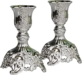 JAZPlayer Silver Taper Candle Holders with Deluxe Engraved Design, Set of 2 Premium Metal Silver Candlestick Holders (Silver)