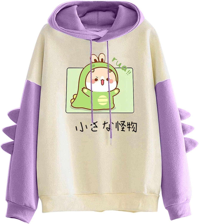 Workout Tops for Women,Women's Cute Hoodie Long Sleeve Kawaii Dinosaur Print Tee Casual Shirts
