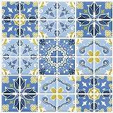 6 Piezas Ecoart Decorativos Adhesivos Para Azulejos Pegatina de Pared, Azulejos de Gel, Diseño de Azulejo Vintage, Efecto 3d, Cenefa Autoadhesivo, Para Baño y Cocina(Azul y Amarillo)
