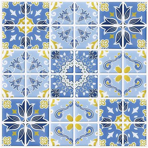 Ecoart 6 Piezas Decorativos Adhesivos para Azulejos Pegatina de Pared, Azulejos de Gel, Diseño de Azulejo Vintage, Efecto 3D, Cenefa Autoadhesivo, para Baño y Cocina(Azul y Amarillo)
