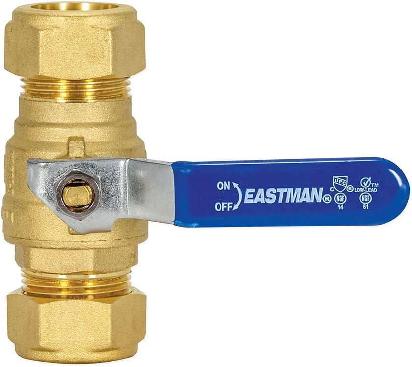 3//4 3//4 inch Compression Brass Heavy-Duty Full Port Ball Valve EZ-FLO 20097LF