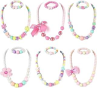 Cozy Kids Beaded Necklace and Bracelet 6 Sets, Little Girl Teens Kids Shiny Bracelet Value Set Kids Girl Party Favor Prete...