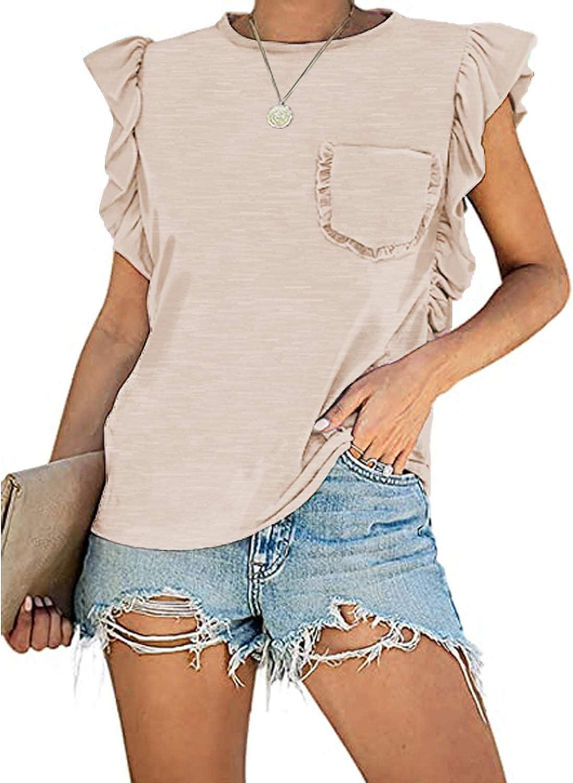 MIHOLL Women's Summer Sleeveless Tops Casual Loose Ruffle Shirts Tank Tops