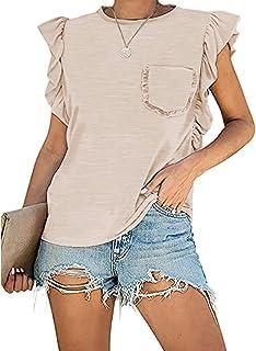 Women's Summer Sleeveless Tops Casual Loose Ruffle Shirts...