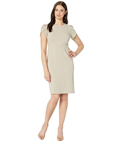 Donna Morgan Tulip Sleeve Crew Neck Sheath Dress (Taupe) Women