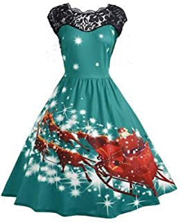 HebeTop Women's Plus Size Christmas Halloween Daily Dresses Short/Long Sleeve Round Neck Print Flared Cocktail Party Dress