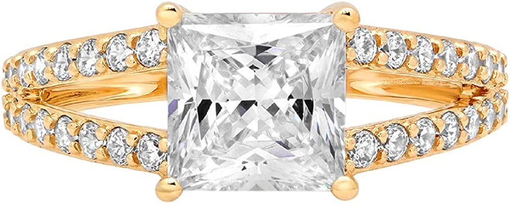 Clara Pucci 2.52 ct Princess Cut Solitaire Accent split shank Stunning Genuine Flawless Moissanite Gem Designer Modern Statement Ring Solid 18K Yellow Gold