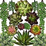 Seeko Artificial Succulents - 14 Pack - Realistic Artificial Plants & Flowers Faux Succulents for Table Decor - Create Faux Plants Indoor Arrangements and Potted Fake Plants Decor