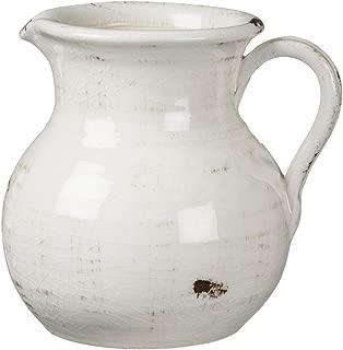 Sullivans White Ceramic Vase, Distressed White Pitcher for Rustic Home Decor, 8 x 9 Inches (CM2515)
